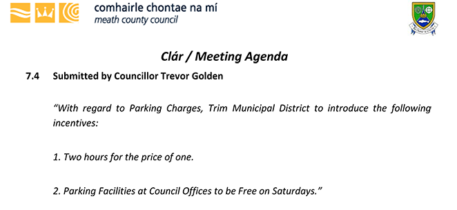 Cllr. Trevor Golden - Parking initiatives for Trim